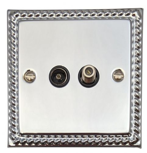 G&H MC38B Monarch Roped Polished Chrome 1 Gang TV Coax & Satellite Socket Point